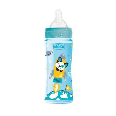 Chicco Μπιμπερό Πλαστικό Well Being Θηλή Σιλικόνης Γρήγορης Ροής Μπλε 4m+ 330ml - Αξεσουάρ για Μωρά στο Pharmeden.gr - Online Φαρμακείο