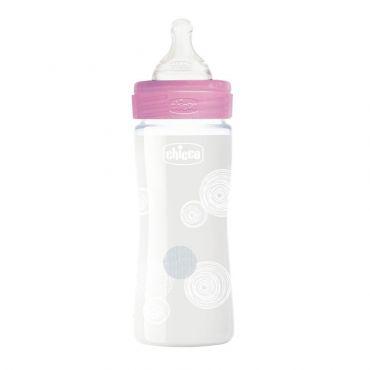 Chicco Μπιμπερό Γυάλινο Well Being Θηλή Σιλικόνης Αργής Ροής Ροζ 0m+ 240ml - Αξεσουάρ για Μωρά στο Pharmeden.gr - Online Φαρμακείο