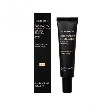 Korres Activated Charcoal Corrective Foundation ACF1 30ml - Μακιγιάζ στο Pharmeden.gr - Online Φαρμακείο