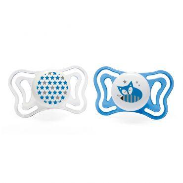 Chicco Πιπίλα Light Μπλε Αστεράκια / Αλεπού Ηλικία 6-16 μηνών 2 τεμ - Αξεσουάρ για Μωρά στο Pharmeden.gr - Online Φαρμακείο