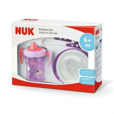 Nuk Σετ Εκμάθησης Φαγητού Ρόζ 6m+ 4τεμ - Αξεσουάρ για Μωρά στο Pharmeden.gr - Online Φαρμακείο