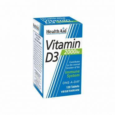 Health Aid Vitamin D3 2000iu 120 tabs - Συμπληρώματα Διατροφής στο Pharmeden.gr - Online Φαρμακείο