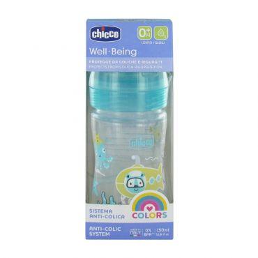 Chicco Πλαστικό Μπιμπερό Well Being με Θηλή Σιλικόνης 0m+ Γαλάζιο 150 ml - Αξεσουάρ για Μωρά στο Pharmeden.gr - Online Φαρμακείο