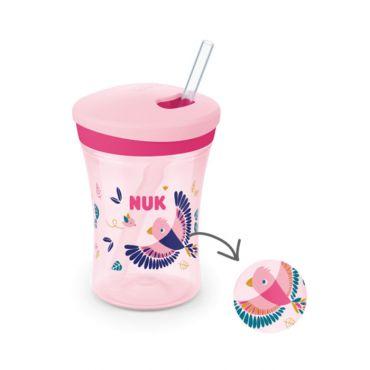 Nuk Action Cup Ποτηράκι που Αλλάζει Χρώμα 12m+ Ροζ 230ml - Αξεσουάρ για Μωρά στο Pharmeden.gr