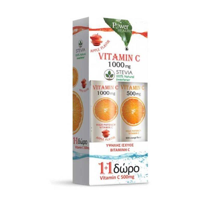 Power Health  Vitamin C 1000mg με Στέβια Γεύση Μήλο 24 αναβρ. δισκία & ΔΩΡΟ Vitamin C 500mg Γεύση Πορτοκάλι 24 αναβρ. δισκία - Βιταμίνες στο Pharmeden.gr - Online Φαρμακείο