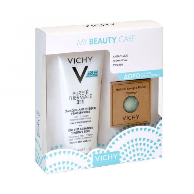 Vichy Promo Purete Thermal 3 in 1 300ml & ΔΩΡΟ Natural Konjac Facial Sponge - Πρόσωπο στο Pharmeden.gr - Online Φαρμακείο