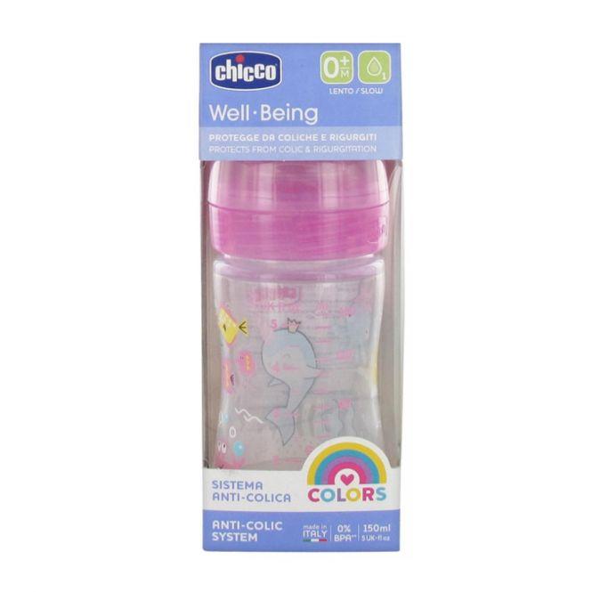 Chicco Πλαστικό Μπιμπερό Well Being με Θηλή Σιλικόνης 0m+ Ροζ 150 ml - Αξεσουάρ για Μωρά στο Pharmeden.gr - Online Φαρμακείο