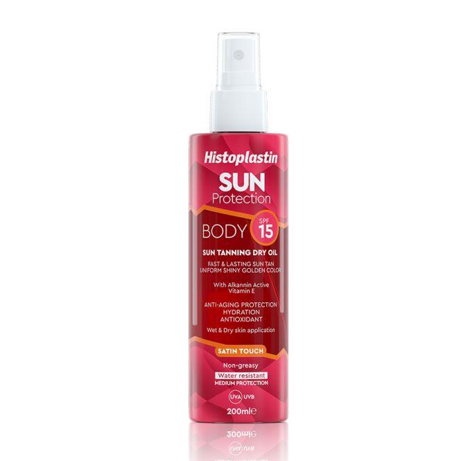 Histoplastin Sun Protection Tanning Dry Oil Body Satin Touch SPF15 200ml - Αντηλιακά στο Pharmeden.gr - Online Φαρμακείο